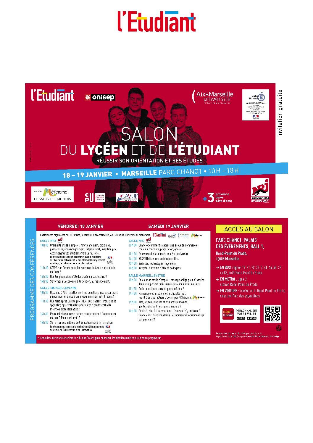 INVITATION AU SALON DES LYCÉENS ET DES ÉTUDIANTS